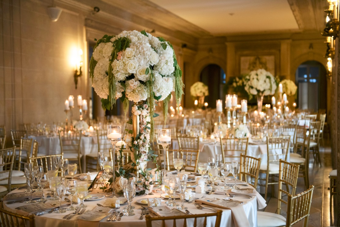 Tall Centerpieces - tall Wedding floral pieces with white roses and hydrangeas